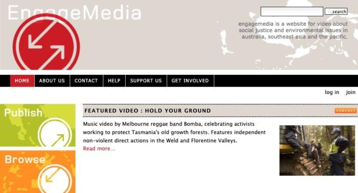Screenshot of EngageMedia site June 7, 2007