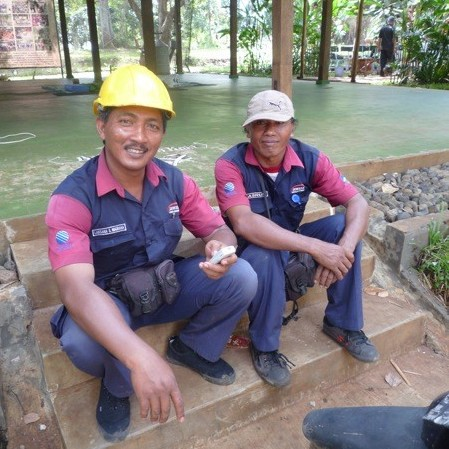 The Telecom men take a break from fixing the internet.