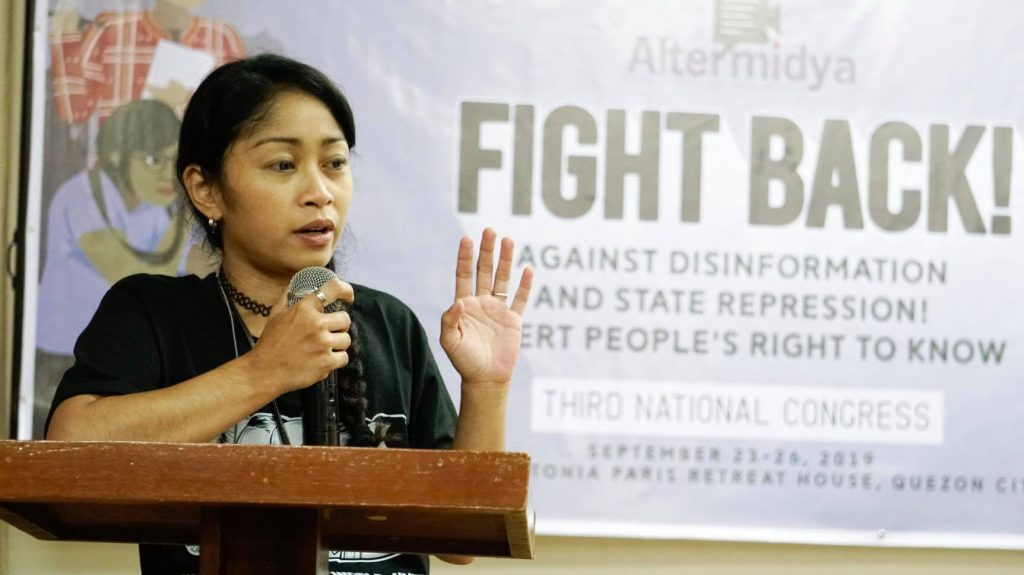 Anne Krueger of Negros-based community media outfit Paghimutad during Altermidya's Third National Congress held in Quezon City last September 2019.