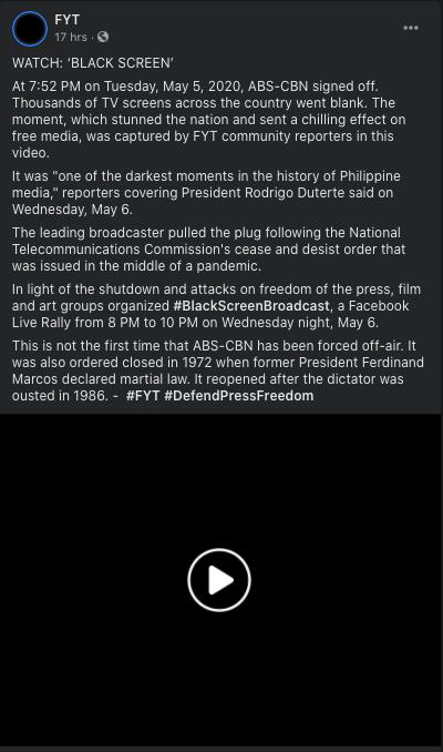 Black Screen Broadcast ABS-CBN