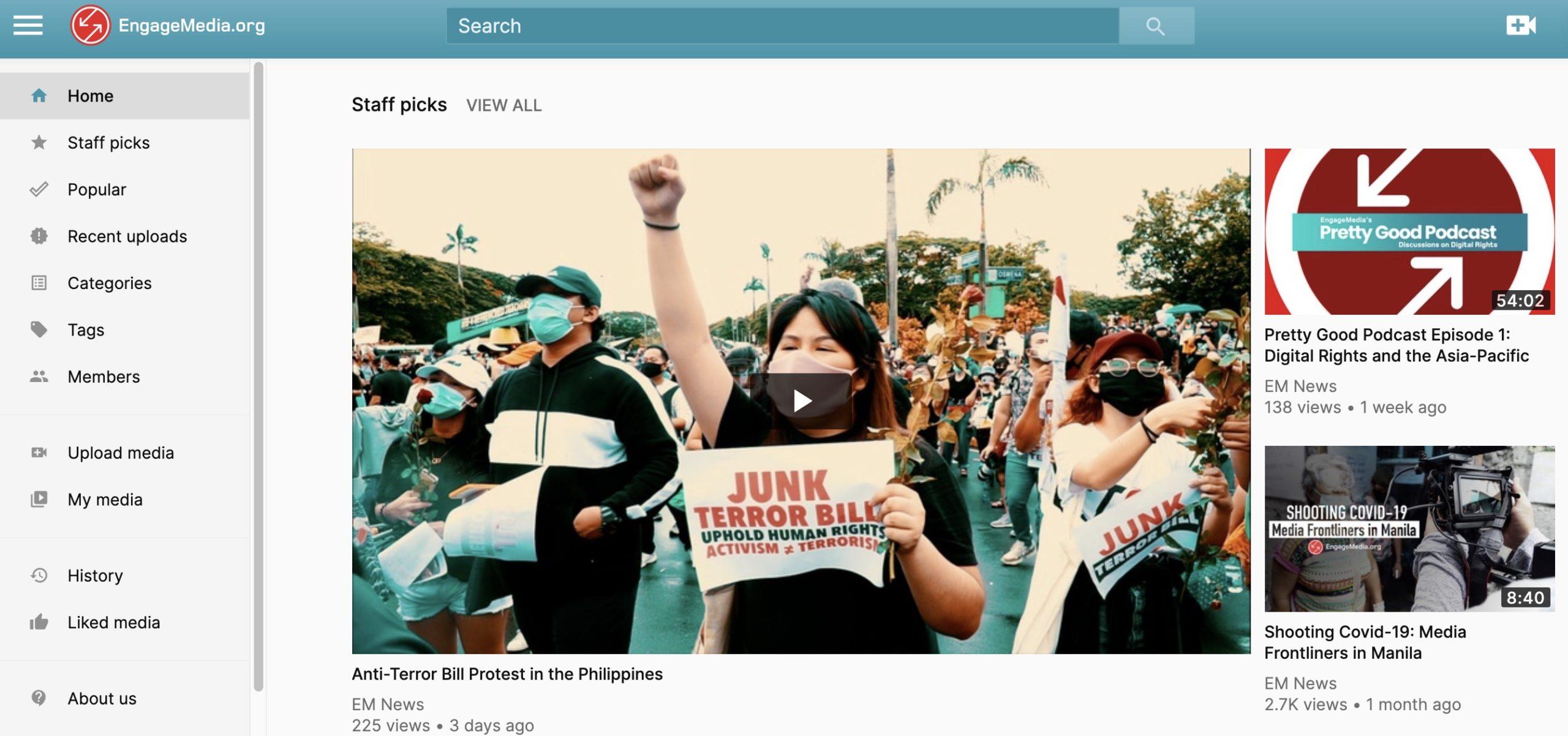 Screenshot of Video.engagemedia.org