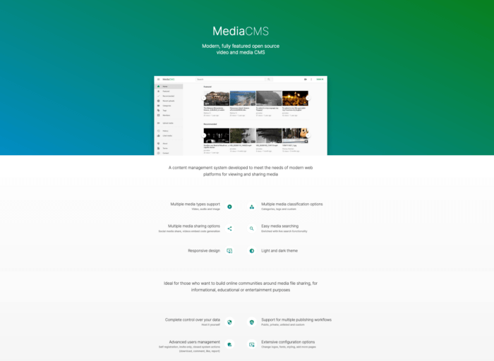 screenshot of MediaCMS brochure site